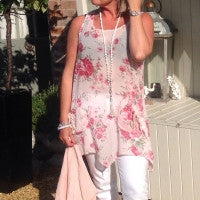 Load image into Gallery viewer, Fiarella Floral Tunic Top Two Piece in Pink Made In Italy By Feathers Of Italy One Size - Feathers Of Italy