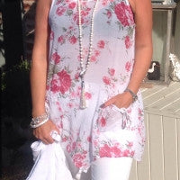 Fiarella Floral Tunic in White - Feathers Of Italy