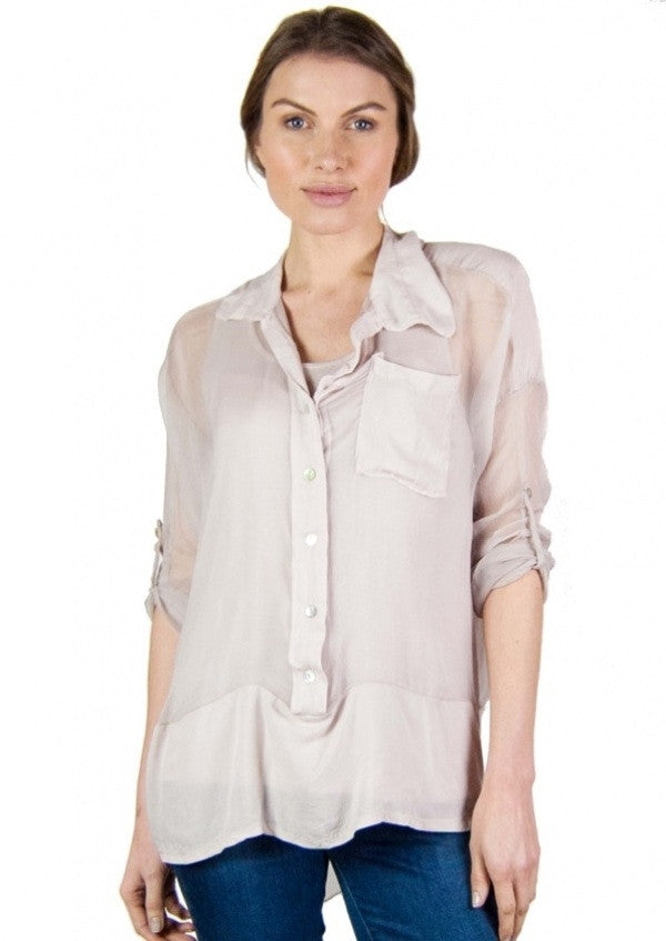 Florella Silk 2 Layer Shirt in Antique Stone - Feathers Of Italy