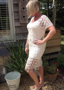 Florence Cream Lace Occasional Dress Made In Italy By Feathers Of Italy One Size - Feathers Of Italy