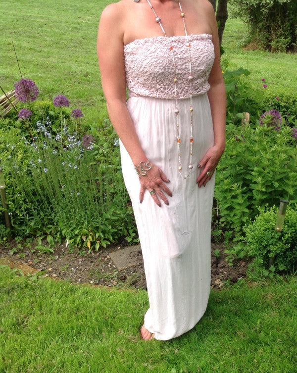 Florence Lace Maxi Dress - Choice of 3 Colours. - Feathers Of Italy