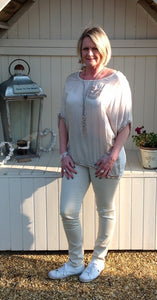 Florence Sequin Silk Top in Stone made In Italy by Feathers Of Italy One Size - Feathers Of Italy