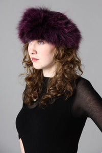 Fox Fur Headband in Wine - Feathers Of Italy