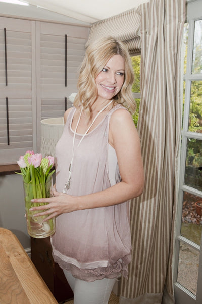 Freya Silk Top in Dusky Pink - Feathers Of Italy