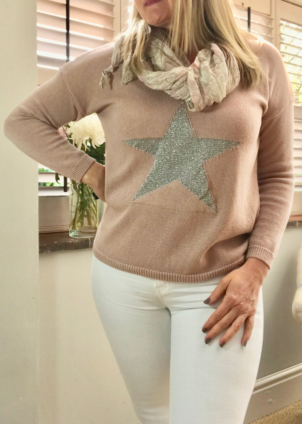 Star Fine Knit Jumper In Pink With Silver Heart Made In Italy by Feathers Of Italy - Feathers Of Italy