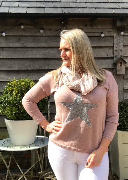 Star Fine Knit Jumper In Pink With Silver Heart Made In Italy by Feathers Of Italy