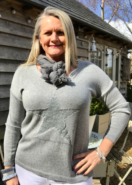Star Fine Knit Jumper In Grey With Silver Heart Made In Italy by Feathers Of Italy
