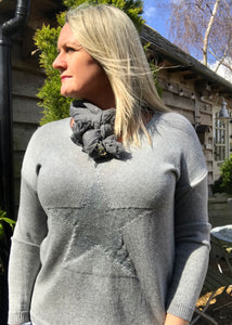 Star Fine Knit Jumper In Grey With Silver Heart Made In Italy by Feathers Of Italy One Size - Feathers Of Italy