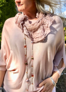 Lola Espeleta Vintage Style Pink Lace Scarf Made In Italy By Feathers Of Italy One Size - Feathers Of Italy