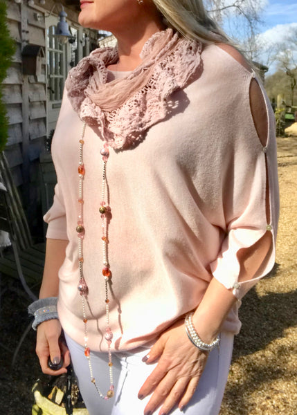 Button Slit Super Fine Knit Batwing Jumper In Pink Made In Italy by Feathers Of Italy One Size - Feathers Of Italy