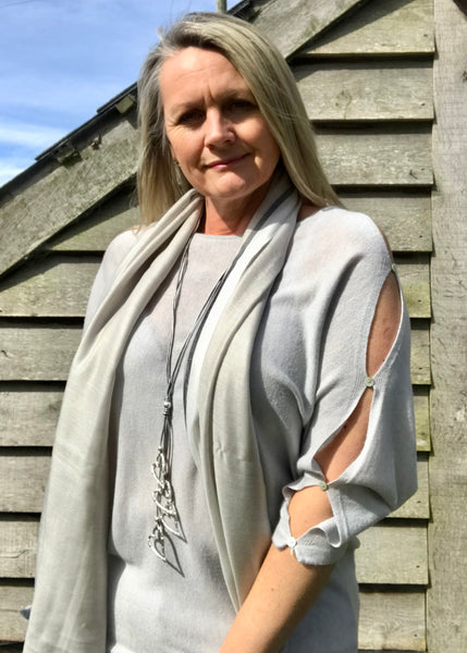 Button Slit Super Fine Knit Batwing Jumper In Silver Made In Italy by Feathers Of Italy One Size - Feathers Of Italy