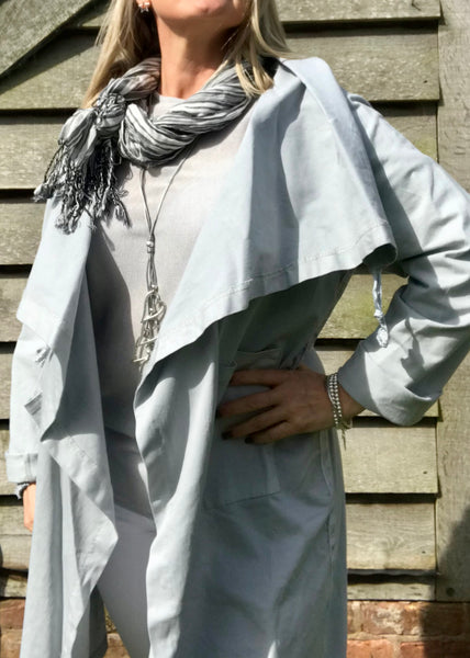 Pisa Scarf Stone and Grey Silk and Cotton Scarf Made In Italy by Feathers Of Italy - Feathers Of Italy