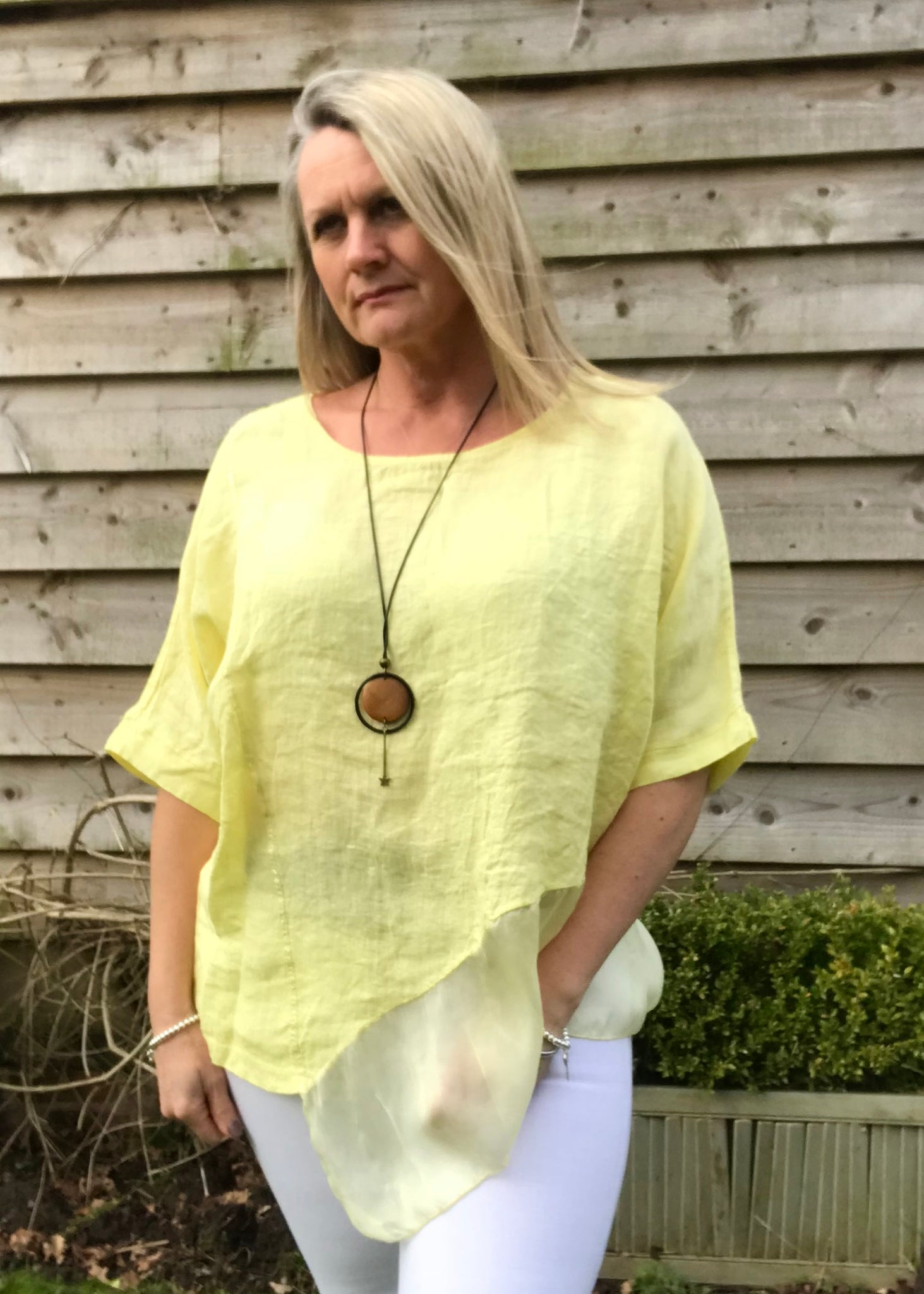 Silk layer Linen Top in Canary Yellow Made in Italy by Feathers Of Italy  One Size