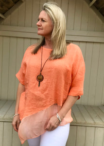 Silk layer Linen Top in Orange Made in Italy by Feathers Of Italy One Size - Feathers Of Italy