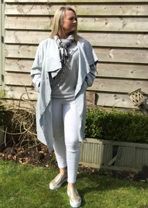 Florence Cotton 3/4 Length Duster Coat in Silver or White Made In Italy by Feathers Of Italy One Size - Feathers Of Italy