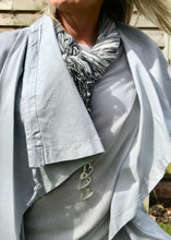 Load image into Gallery viewer, Pisa Scarf Stone and Grey Silk and Cotton Scarf Made In Italy by Feathers Of Italy - Feathers Of Italy