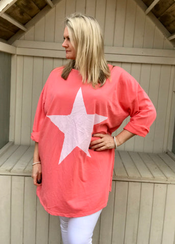 Day Dreamer Star T Shirt in Orange Made In Italy By Feathers Of Italy One Size