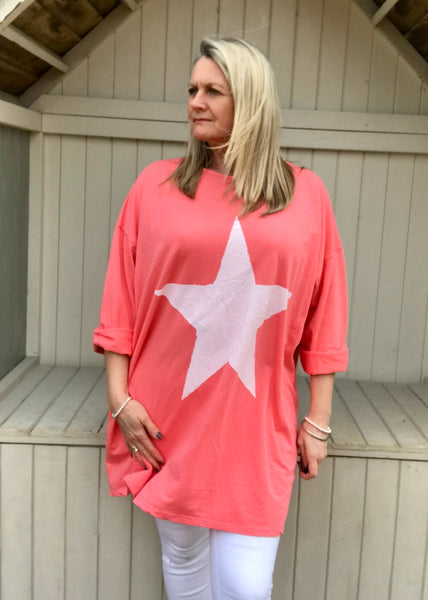 Day Dreamer Star T Shirt in Orange Made In Italy By Feathers Of Italy One Size - Feathers Of Italy