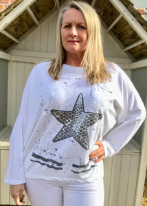 Starfish Long Sleaved T Shirt Top in White Made In Italy By Feathers Of Italy One Size - Feathers Of Italy