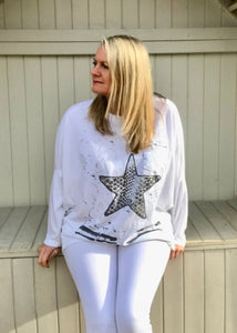 Starfish Long Sleaved T Shirt Top in White Made In Italy By Feathers Of Italy One Size
