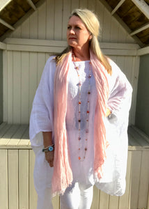 Caglio Linen Scarf in Baby Pink Made In Italy By Feathers Of Italy One Size - Feathers Of Italy