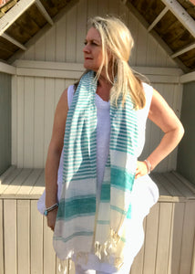 Linen Look 100% Cotton Scarf in Aqua Stripe Made In Italy By Feathers Of Italy One Size - Feathers Of Italy