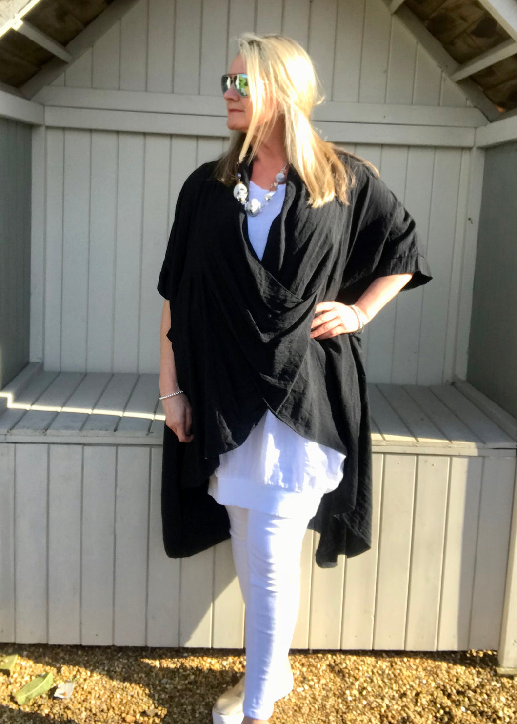 Multi-Wear Soft Drape 100% Cotton Beach Jacket in Black Made In Italy by Feathers Of Italy One SIze - Feathers Of Italy
