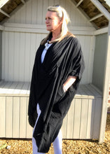 Load image into Gallery viewer, Multi-Wear Soft Drape 100% Cotton Beach Jacket in Black Made In Italy by Feathers Of Italy One SIze - Feathers Of Italy