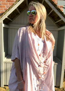 Multi-Wear Soft Drape 100% Cotton Beach Jacket in Pink  Made In Italy by Feathers Of Italy One SIze - Feathers Of Italy