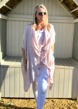 Load image into Gallery viewer, Multi-Wear Soft Drape 100% Cotton Beach Jacket in Pink  Made In Italy by Feathers Of Italy One SIze - Feathers Of Italy