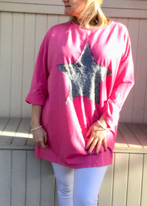 Day Dreamer Iridescent Sequined Star Long Sleeved T Shirt in Cerise Pink  Made In Italy By Feathers Of Italy One Size