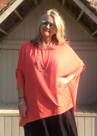 Gauli Oversized Fine Knit Top in Orange Made In Italy by Feathers Of Italy One Size