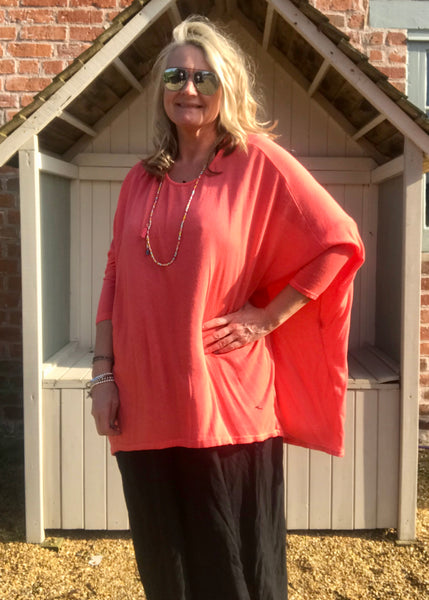 Gauli Oversized Fine Knit Top in Orange Made In Italy by Feathers Of Italy One Size - Feathers Of Italy