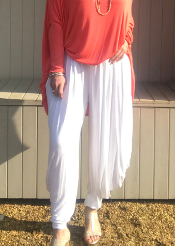 Jersey Hareem Trousers in White, Black, Silver and Sky Blue, Made In Italy by Feathers Of Italy