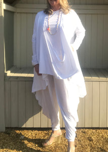 Multi-Wear Soft Drape Jersey Cotton Jacket/ Top in White Made In Italy by Feathers Of Italy One SIze - Feathers Of Italy