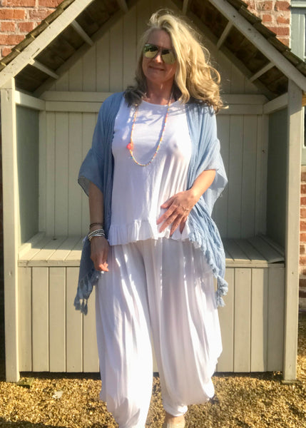 100 % Cotton Oversized Kimono style Top in Soft Blue Made In Italy by Feathers Of Italy One Size - Feathers Of Italy