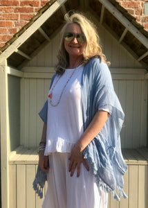 100 % Cotton Oversized Kimono style Top in Soft Blue Made In Italy by Feathers Of Italy One Size