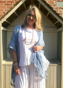 Kimono style Top in Soft Blue Made In Italy by Feathers Of Italy One Size - Feathers Of Italy