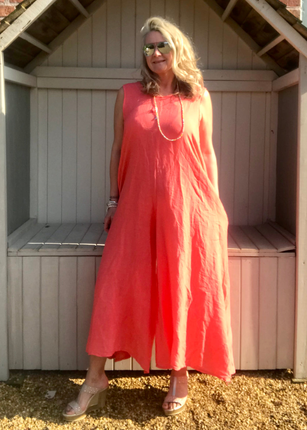 Linen Jumpsuit - in Orange Made in Italy by Feathers Of Italy One Size - Feathers Of Italy
