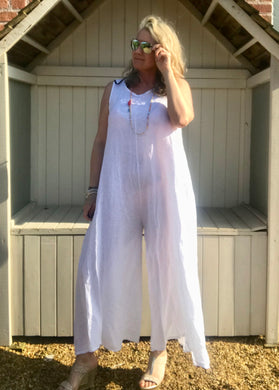 Linen Jumpsuit - in White  Made in Italy by Feathers Of Italy One Size - Feathers Of Italy