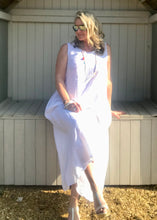 Load image into Gallery viewer, Linen Jumpsuit - in White  Made in Italy by Feathers Of Italy One Size - Feathers Of Italy