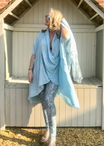 Luxury Lace Leggins in Turquoise and Grey by Feathers Of Italy One Size