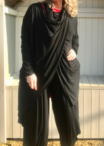 Multi-Wear Soft Drape Jersey Cotton Jacket/ Top in Black Made In Italy by Feathers Of Italy One SIze - Feathers Of Italy