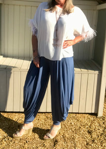 Jersey Hareem Trousers in White, Black, Silver and Sky Blue, Made In Italy by Feathers Of Italy One Size - Feathers Of Italy