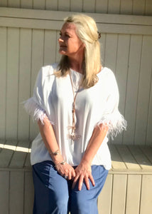 Orciano Pisano Ostrich Feather Sleeve Trim Top in White Made In Italy by Feathers Of Italy One Size - Feathers Of Italy