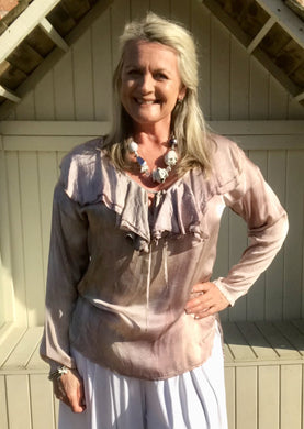 Rimini Silk Top in washed dusky Rose Pink Made In Italy By Feathers Of Italy One Size - Feathers Of Italy