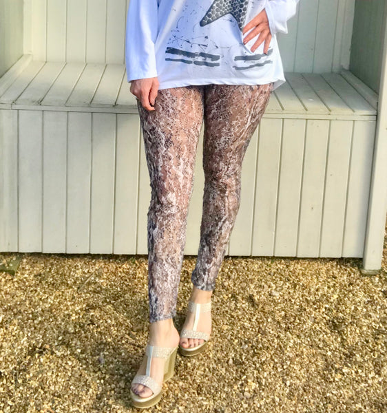 Luxury Lace Leggins in Pink and Grey by Feathers Of Italy One Size - Feathers Of Italy