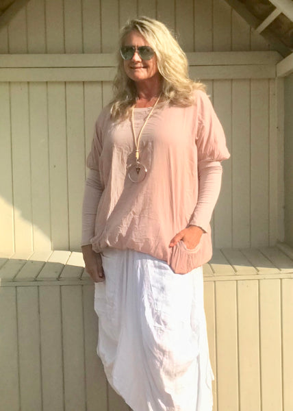 Pink Cotton Top With Ribbed Sleave Made In Italy By Feathers Of Italy One Size - Feathers Of Italy