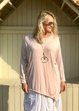 Load image into Gallery viewer, Jersey Asymmetric Round Neck Top in Pink Made In Italy By Feathers Of Italy - Feathers Of Italy