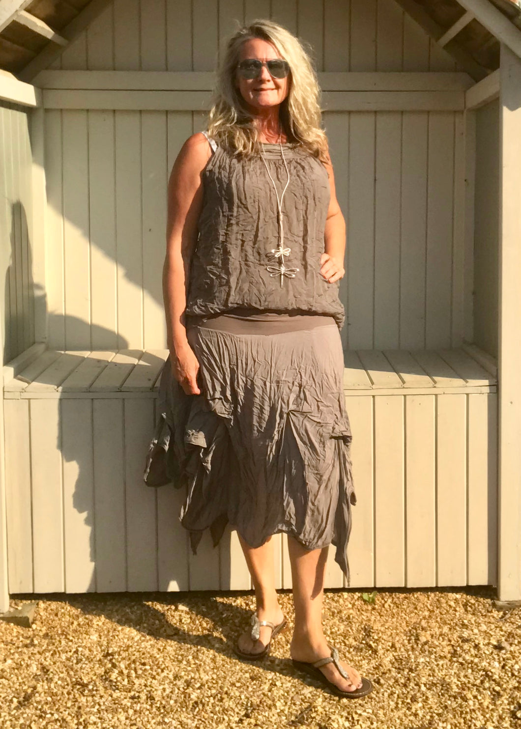 Cotton Waterfall Skirt in Mocha Made In Italy By Feathers Of Italy One Size - Feathers Of Italy
